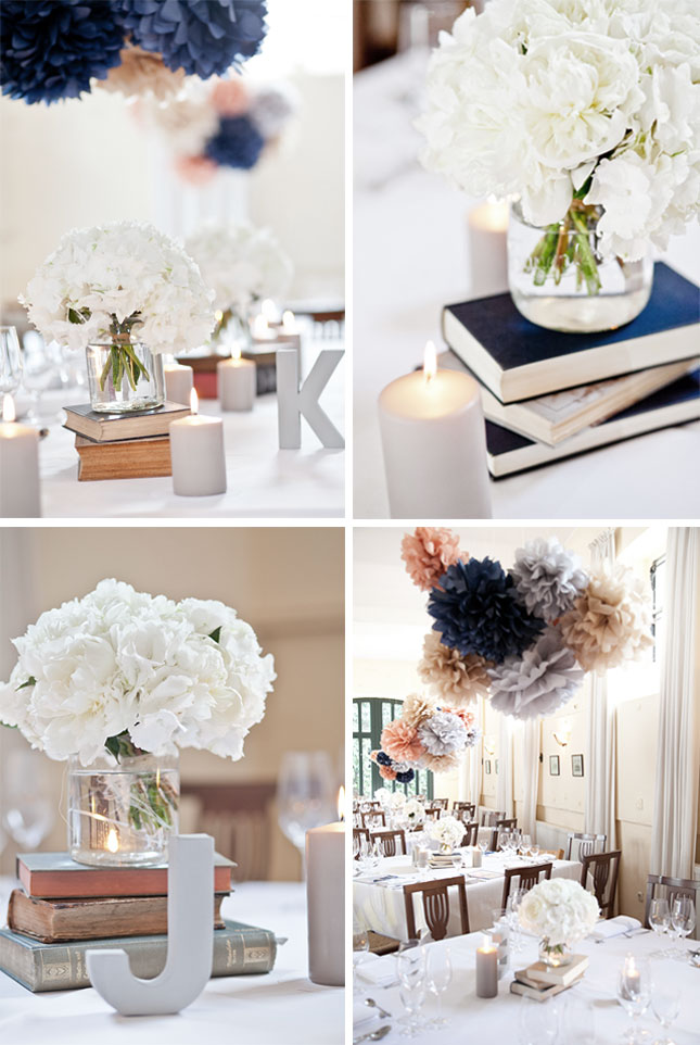wedding decoration: old books, pompoms, candles.