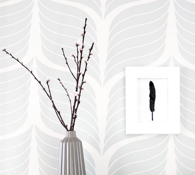 DIY wall art with black feather