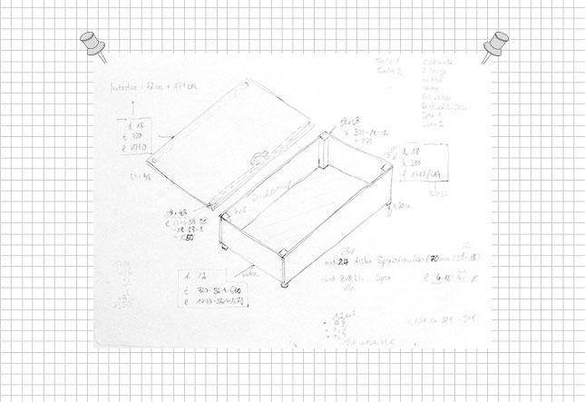Das Making Of von meinem Sitzpodest: Skizze