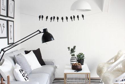 Unser Wohnzimmer in schwarz-weiß-grau