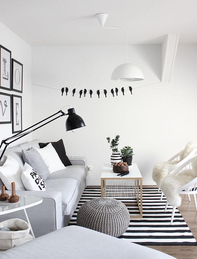 Unser Wohnzimmer In Schwarz Weiß Grau