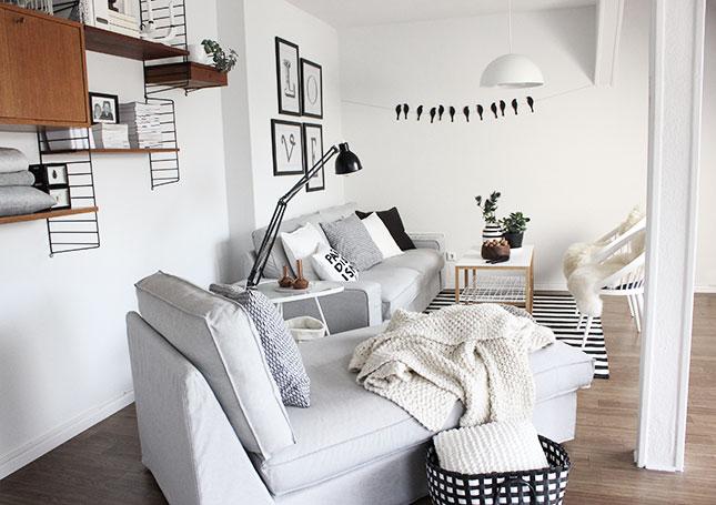 Wohnzimmer Schwarz Weiss Grau 3