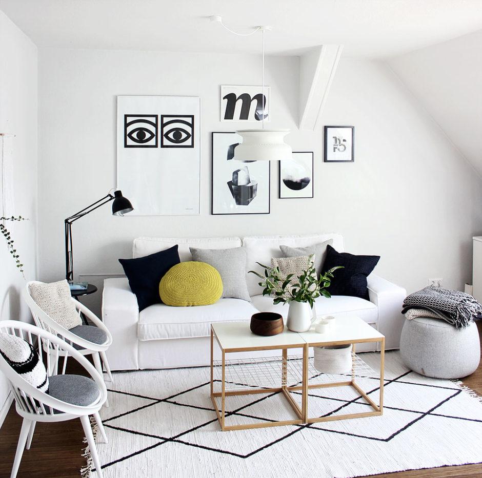 Skandi monochrom Wohnzimmer