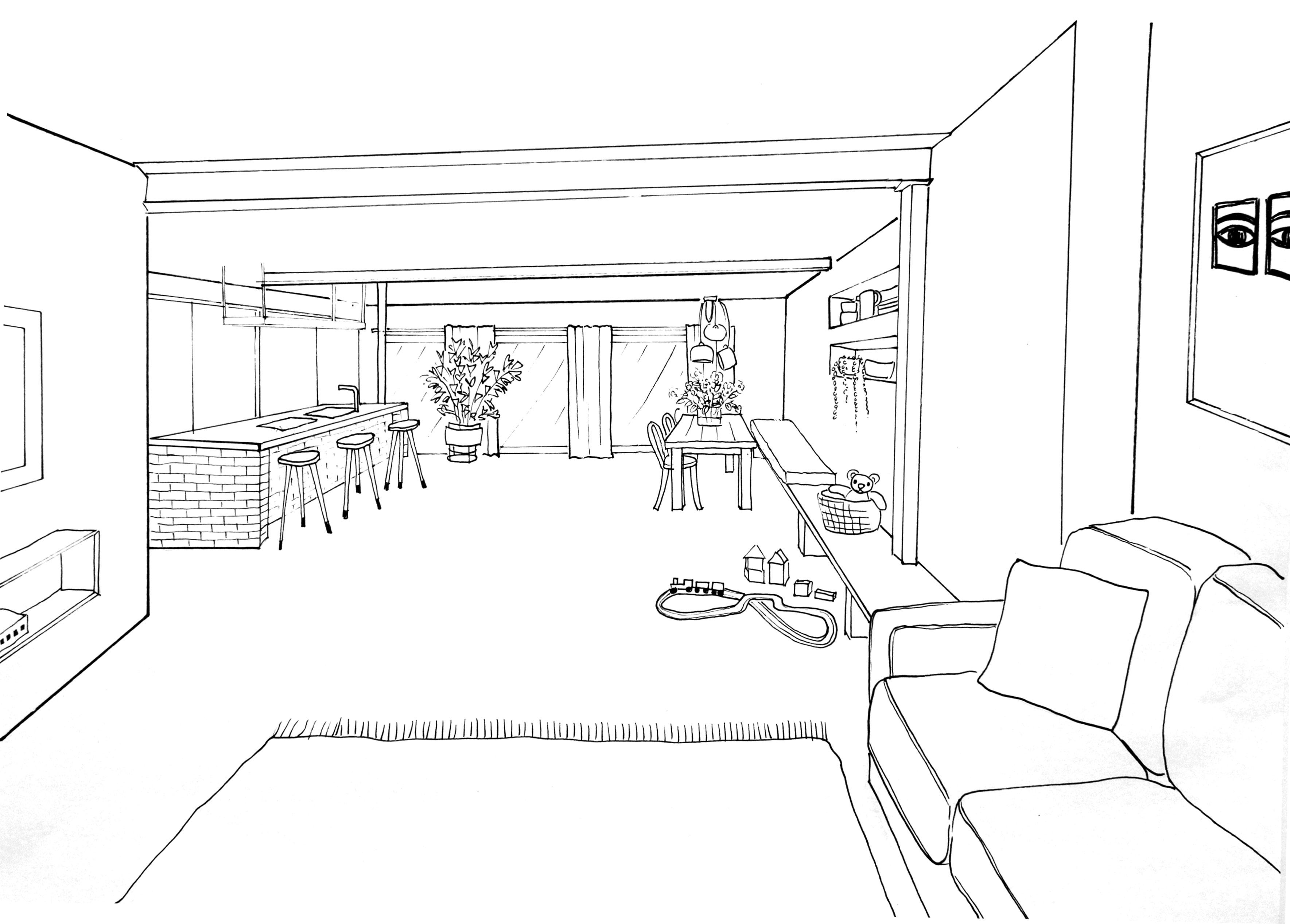 Ich Hatte Neulich Lust, Meine Vorstellung Von Unserem Zukünftigen Wohnzimmer  Im Neuen Haus Zu Zeichnen Und Um Euch Mal Einen Vorgeschmack Darauf Zu  Geben, ...